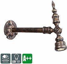 3W LED Strahler Deckenlampe Rohr Design Wandlampe Deckenleuchte Einstellbar Abstrahlwinkel Wandspot Antik Wandleuchte Landhaus Scheinwerfer Industrie Wand Spot Vintage Innen Beleuchtung Warmweiß (29*24cm)