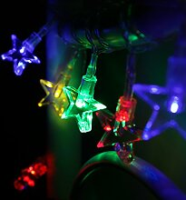 3x 10er LED Lichterkette Sterne bunt