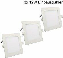 3x 12W LED Panel Einbaustrahler Eckig Ultra Slim