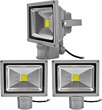 3X 30W LED Strahler Bewegungsmelder Außen Fluter
