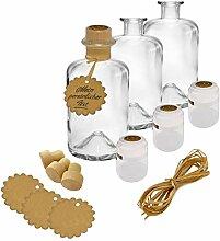 3x Apothekerflaschen Glas Geschenk Komplettset