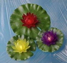 3x beleuchtete Seerosen für Garten und Teich,