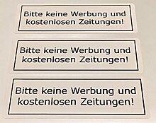 3x BITTE KEINE WERBUNG und kostenloses Zeitungen