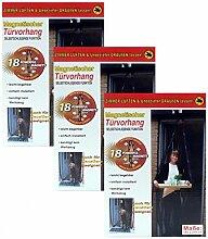 3x CBK-MS Tür Fliegenvorhang 100 x 210 cm schwarz Magnetverschluss Fliegengitter Insektenschutz Vorhang