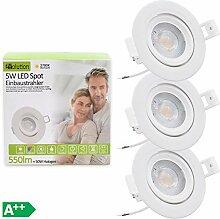 3x Evolution IP44 LED Einbaustrahler 5W 550lm