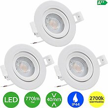 3x Evolution LED Einbaustrahler 7W 770lm IP44