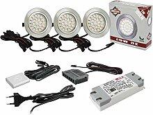 3x Flache LED Möbelleuchte 2W warmweiß DIMMBAR