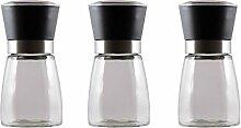 3x Gewürzmühle Glas, Kunststoff Schwarz /