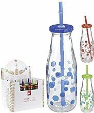 3x Glas Trinkflasche mit Deckel + Strohhalm 0,5l