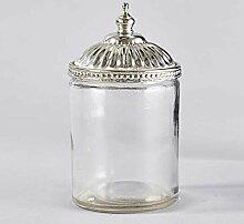 3x Glasdose mit Silber Deckel Dose Glas Shabby Vintage Küche Deko Bad Weihnachten Gesvhenk