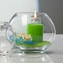 3x Glasvase Kugel Vase Glas Blumenvase Tischvase