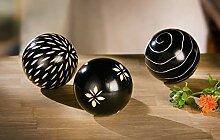 3X Holzkugel Afrika schwarz mit verschiedenen
