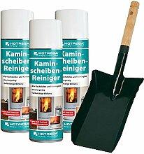 3x HOTREGA Kaminscheibenreiniger entfernt mühelos Ruß von Kachelofen- und Kaminglas inkl. Kohlenschaufel