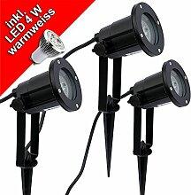 3x LED Erdspießleuchte Gartenstrahler schwarz