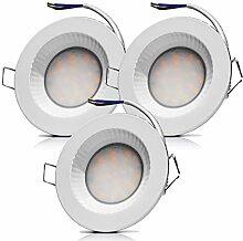 3x LED Feuchtraum Einbauleuchten 230V 5W IP54 LED