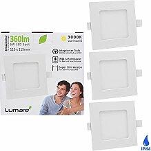 3x Lumare LED Einbauspot 6W IP44 extra flach 230V