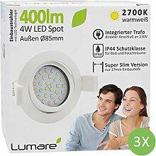 3x Lumare LED Einbaustrahler 4W 400lm 230V IP44
