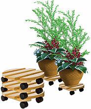 3x Pflanzenroller rund Buchenholz massives Holz 30
