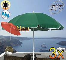 3x PREMIUM Sonnenschirm grün / XXL Gartenschirm, Marktschirm, 180 cm / Durchmesser 1,80 m EDEL mit Volant, 8-teilig / 8-eckig massiv robust, Strandschirm,Sonnendach /Sonnenschutz Dach, XXL-Klappschirm, Gartenschirm extrem wetterfest, klappbar, tragbar, seewasserfest, hochwertig robust stabil, Sonnenschutz, stabiler Schirm Klappschirm, moosgrün, Strandschirme, Sonnenschirme, Sonnenschirm-Tische