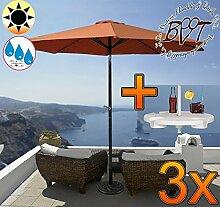 3x PREMIUM-Sonnenschirm mit Getränketisch /