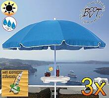3x PREMIUM-Sonnenschirm mit Getränketisch / XXL Gartenschirm, Marktschirm, 180 cm / Q 1,80 m EDEL mit Volant 8-eckig, Sonnendach Schirm, 8tlg. Strandschirm, blau marine mit weiss, Strandschirm rund,Sonnendach /Sonnenschutz Dach, XXL-Klappschirm, Gartenschirm extrem wetterfest, klappbar, tragbar, seewasserfest, hochwertig robust stabil, Sonnenschutz, stabiler Schirm Klappschirm, Strandschirme, Sonnenschirme, Sonnenschirm-Tische