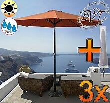3x PREMIUM-Sonnenschirm mit Hülle / MEGA-XXL