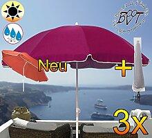 3x PREMIUM-Sonnenschirm mit Hülle / XXL Gartenschirm, Marktschirm, 180 cm / Q 1,80 m EDEL mit Volant 8-eckig, Sonnendach Schirm, 8tlg. Strandschirm, violett lila gediegen mit weiss, Strandschirm rund,Sonnendach /Sonnenschutz Dach, XXL-Klappschirm, Gartenschirm extrem wetterfest, klappbar, tragbar, seewasserfest, hochwertig robust stabil, Sonnenschutz, stabiler Schirm Klappschirm, Strandschirme, Sonnenschirme, Sonnenschirm-Tische