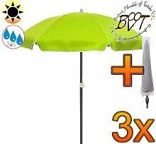 3x PREMIUM Sonnenschirm UV50+ mit Hülle apfelgrün / XXL Gartenschirm, Marktschirm, 180 cm / Durchmesser 1,80 m EDEL mit Volant, 8-teilig / 8-eckig massiv robust, Strandschirm,Sonnendach /Sonnenschutz Dach, XXL-Klappschirm, Gartenschirm extrem wetterfest, klappbar, tragbar, seewasserfest, hochwertig robust stabil, Sonnenschutz, stabiler Schirm Klappschirm, moosgrün, Strandschirme, Sonnenschirme, Sonnenschirm-Tische