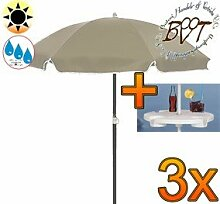 3x PREMIUM-Sonnenschirm UV50+sonnendicht mit