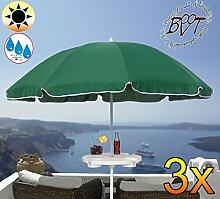 3x PREMIUM Sonnenschirm UV50+sonnendicht mit Getränketisch dunkelgrün / XXL Gartenschirm, Marktschirm, 180 cm / Durchmesser 1,80 m EDEL mit Volant, 8-teilig / 8-eckig massiv robust, Strandschirm,Sonnendach /Sonnenschutz Dach, XXL-Klappschirm, Gartenschirm extrem wetterfest, klappbar, tragbar, seewasserfest, hochwertig robust stabil, Sonnenschutz, stabiler Schirm Klappschirm, moosgrün, Strandschirme, Sonnenschirme, Sonnenschirm-Tische