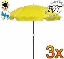 3x PREMIUM-Sonnenschirm UV50+ / XXL Gartenschirm, Marktschirm, 180 cm / Q 1,80 m EDEL mit Volant 8-eckig, Sonnendach Schirm, 8tlg. Strandschirm, gelb mit weiss, Strandschirm rund,Sonnendach /Sonnenschutz Dach, XXL-Klappschirm, Gartenschirm extrem wetterfest, klappbar, tragbar, seewasserfest, hochwertig robust stabil, Sonnenschutz, stabiler Schirm Klappschirm, Strandschirme, Sonnenschirme, Sonnenschirm-Tische