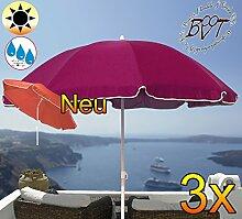 3x PREMIUM-Sonnenschirm / XXL Gartenschirm, Marktschirm, 180 cm / Q 1,80 m EDEL mit Volant 8-eckig, Sonnendach Schirm, 8tlg. Strandschirm, violett lila gediegen mit weiss, Strandschirm rund,Sonnendach /Sonnenschutz Dach, XXL-Klappschirm, Gartenschirm extrem wetterfest, klappbar, tragbar, seewasserfest, hochwertig robust stabil, Sonnenschutz, stabiler Schirm Klappschirm, Strandschirme, Sonnenschirme, Sonnenschirm-Tische