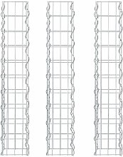 3X [pro.tec] Säulen - Gabionen (100 x 12,5 x 12,5