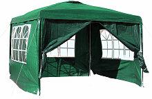 3x3m Pavillon, grün, mit abnehmbaren Seitenteilen