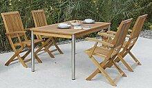 4 + 1 Garten-Garnitur / Terrassen-Möbel Set aus
