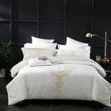 4/6-PCS 100% Baumwolle 60S Luxus Bettwäsche rein weiße Bettdecke mit champagner gold Stickerei 2 Kissenhüllen