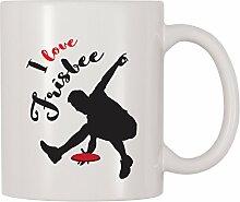 4alle mal I Love Frisbee Kaffee Tasse 11 Oz weiß