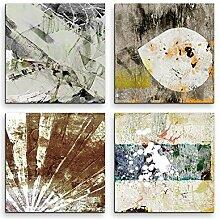 4 Bilder Set Abstrakt Muster Grautöne Kunst