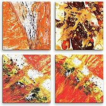 4 Bilder Set Abstrakt Orange Terra Cotta Expressiv