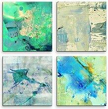 4 Bilder Set Abstrakt Pastell Grüntöne Blautöne