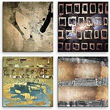 4 Bilder Set Abstrakt Quadrate Bronze Dunkel Kuns