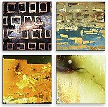 4 Bilder Set Abstrakt Quadrate Mehrfarbig Kunst