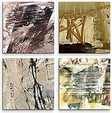 4 Bilder Set Abstrakt Warmes Grau Briefmarke