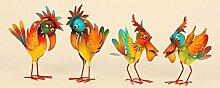 4 er Set Vogelfiguren je 20 cm Tukane Pelikane Figuren Metallvögel Dekoration Figur