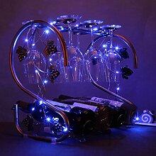 4 Flasche Weinregal - Eis-Multifunktions-Boden-Weinregal-Becher-hängendes Regal (Farbe : With LED blue light)