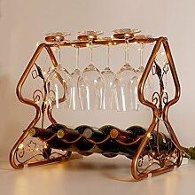 4 Flasche Weinregal - Eis-Multifunktions-Boden-Weinregal-Becher-hängendes Regal (Farbe : With LED warm light)
