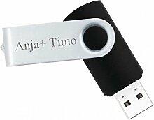 4 GB USB Stick mit Gravur - Geschenk für Frau & Mann (Gravur: Druckschrift)