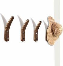 4 Holz-Kleiderhaken, Wandmontage, Naturholz,