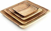 4 Holzteller quadratisch im 4er Set aus Akazie - 4 Teller 4 verschiedene Größen - Holzschale Obstschale Deko Dekoration Aufbewahrung Akazienholz