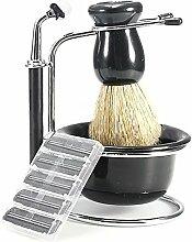 4 in 1 tragbare Männer Bart sauber Rasierset-Kit mit 1 Soap Schüssel 1 Rasiermesser 1 stehen 1 Pinsel 5 Rasierklingen schwarz
